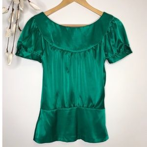 Zara Basic Emerald Green Blouse - size XS